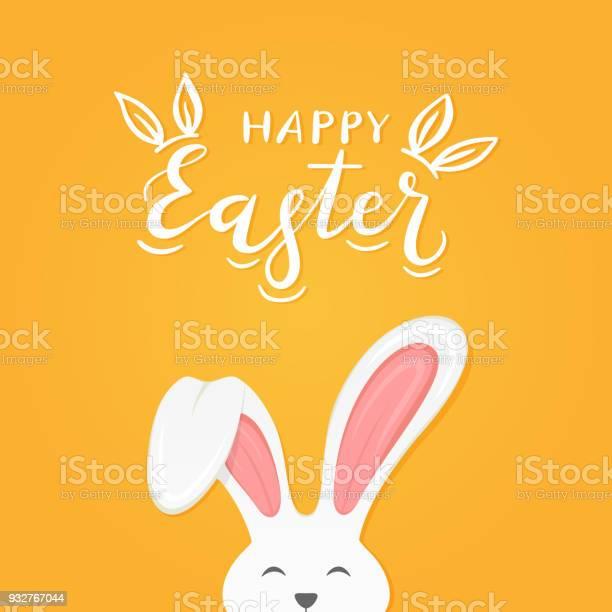 Orangefarbenen Hintergrund Mit Text Frohe Ostern Und Hasenohren Stock Vektor Art und mehr Bilder von Abstrakt