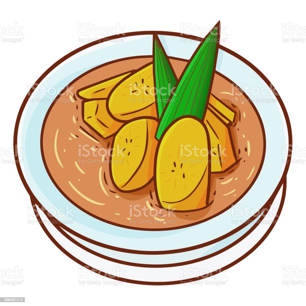 royalty free pandan leaves clip art vector images illustrations Traditional Indonesian Food orange banana pote or kolak pisang in bahasa indonesia vector art illustration