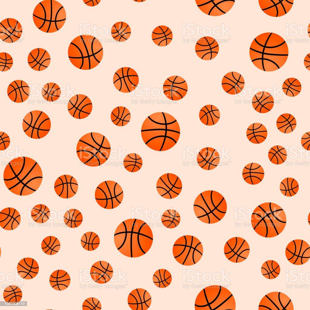 Orange basket balls. Basketball seamless pattern. Cartoon sport...