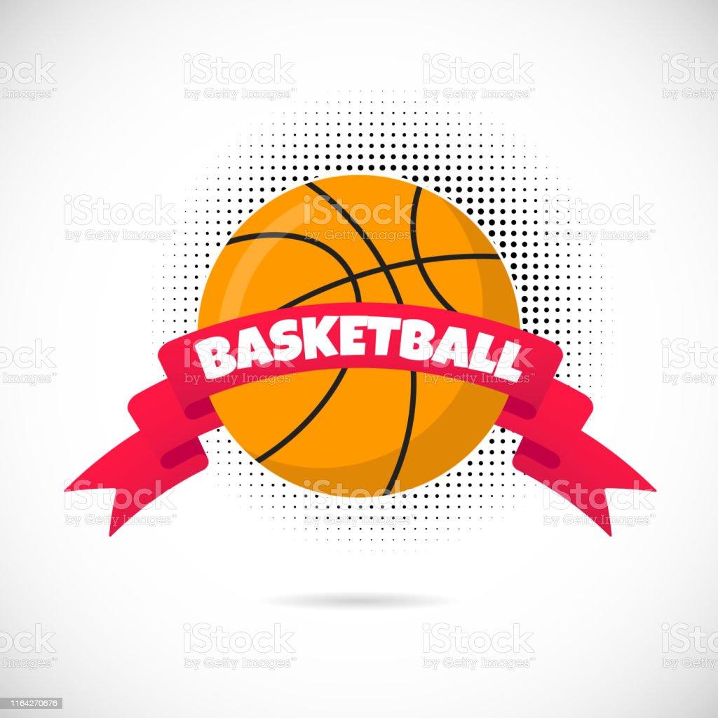 Orange basketball ball flat style design equipment poster vector...