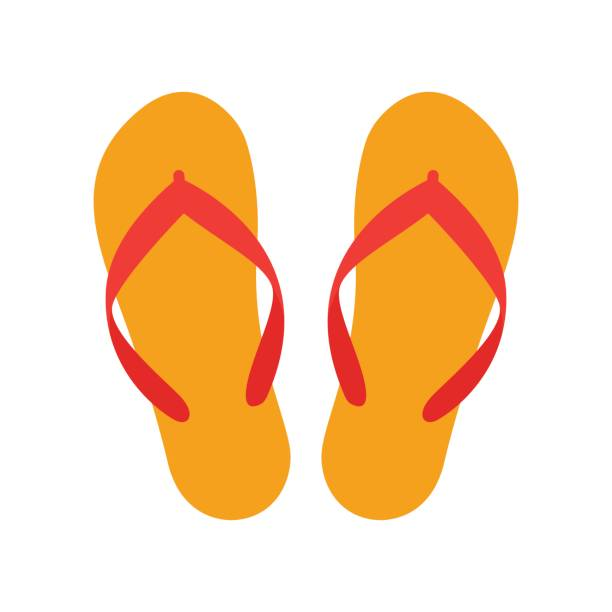 0bd14505f Orange beach slippers icon isolated on white background vector art  illustration. Summer flip flops set vector art illustration