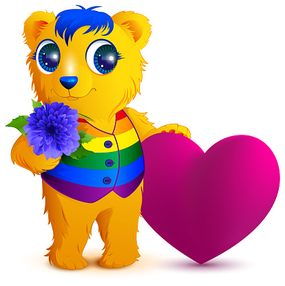 Orange bear in an rainbow vest holds flower and red heart. Valentines Day for LGBT community
