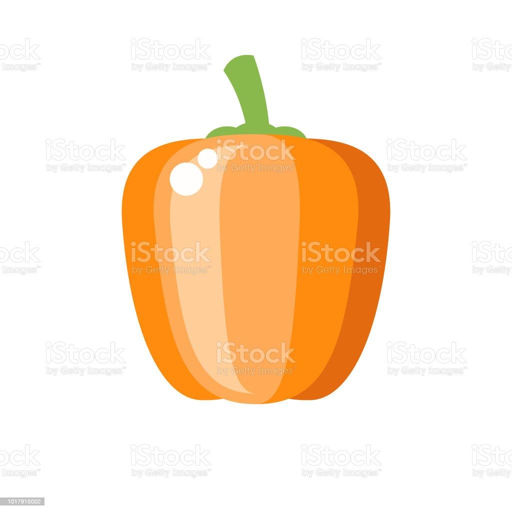 Orange Bell Pepper Flat Design Vegetable Icon vector art illustration