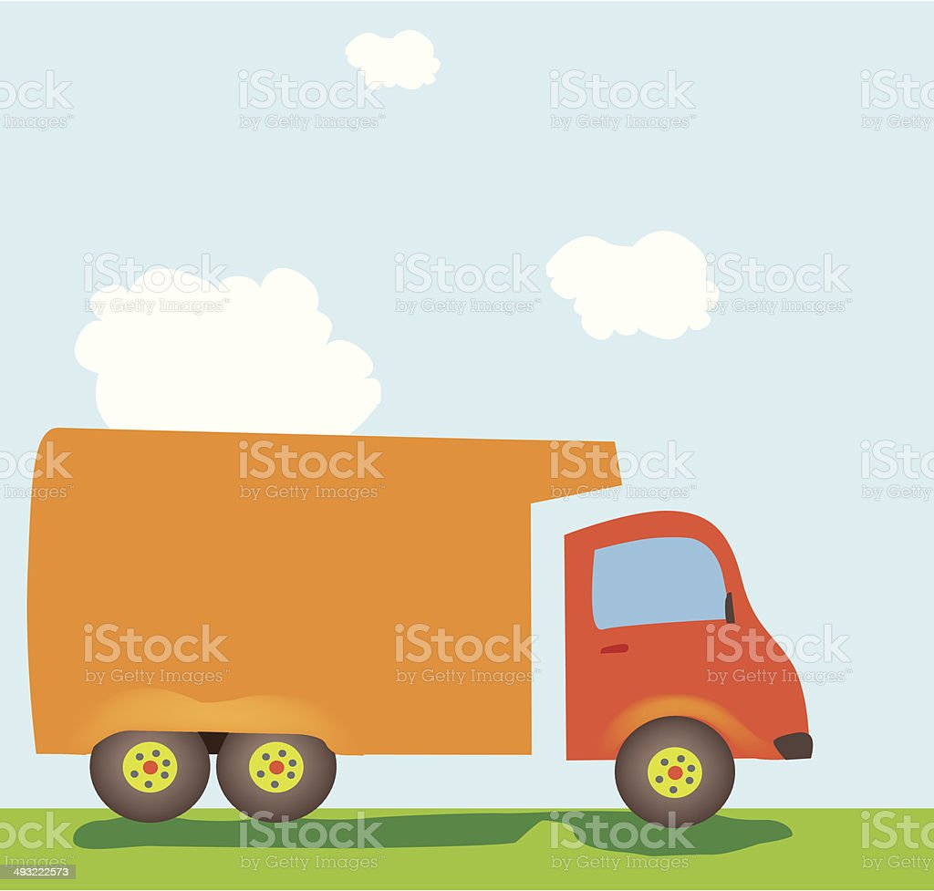 Orange Big Rig Under A Blue Sky With Clouds royalty-free stock vector art