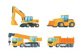 Orange big set of ground works machines vehicles construction and equipment for building  crane, tipper,wheel loader and excavator isolated illustration vector. Flat design.