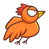 Funny and cute orange bird with angry look - vector.