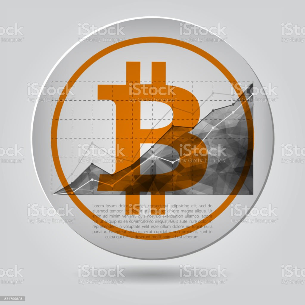 orange bitcoin icon with statistics chart showing different grow vector art illustration
