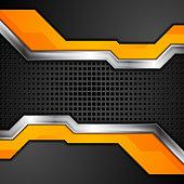 Orange black abstract metallic technology background. Vector design