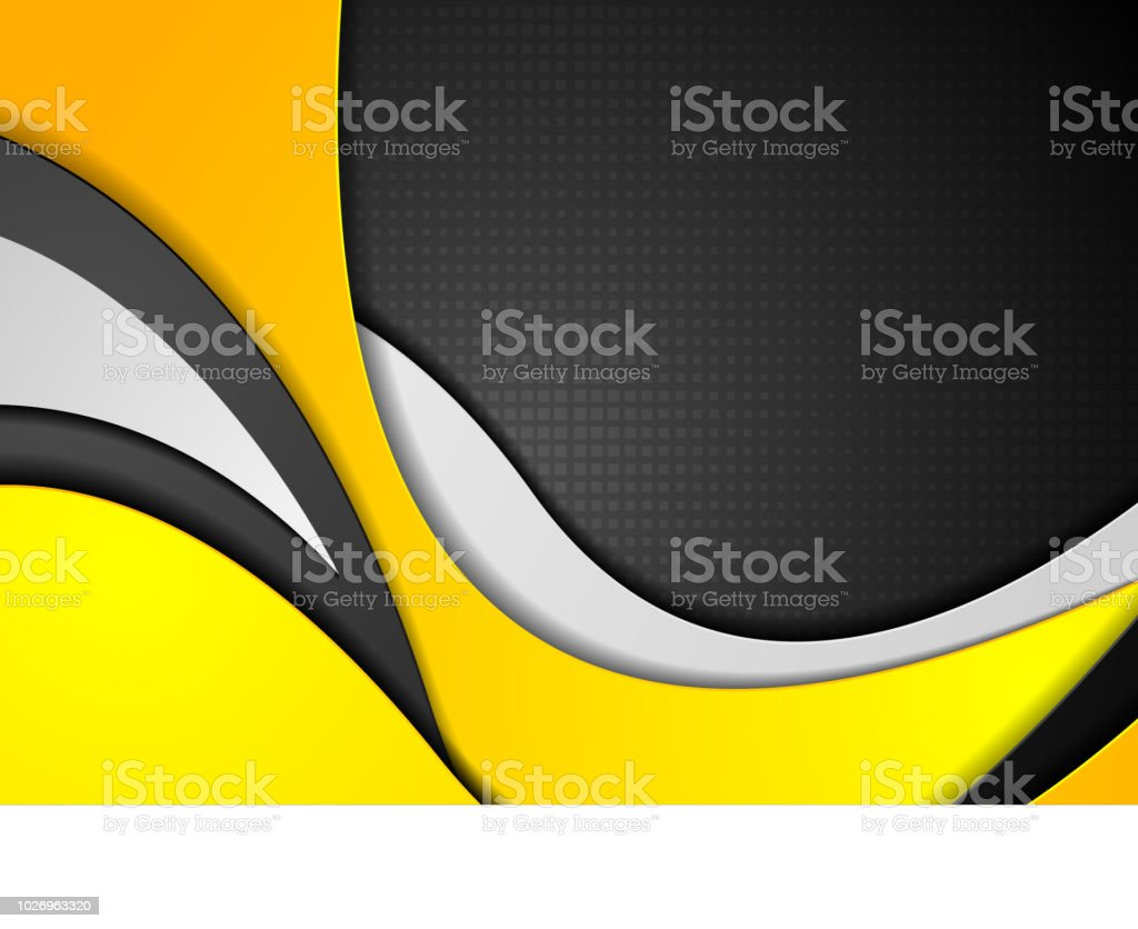 Orange black grey abstract wavy corporate background vector art illustration