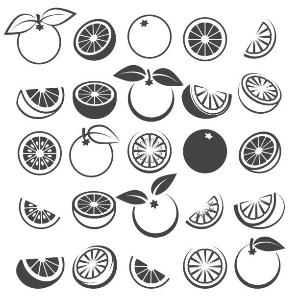 Orange black icons set Orange icons. Tasty fresh vector black oranges fruits isolated on white background, citrus wedge, half and slices silhouette set lemon fruit stock illustrations