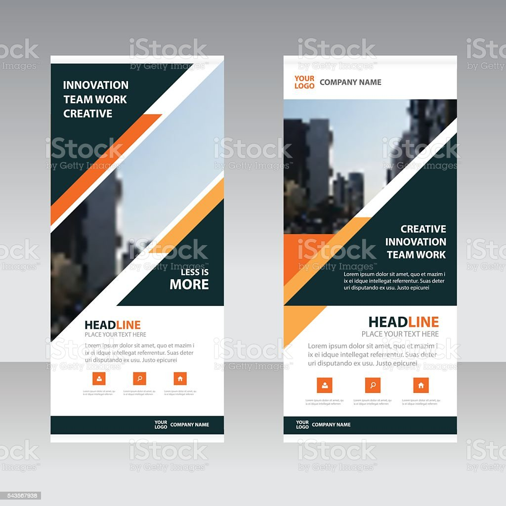 Orange black triangle polygon astract triangle Business Roll Up Banner vector art illustration