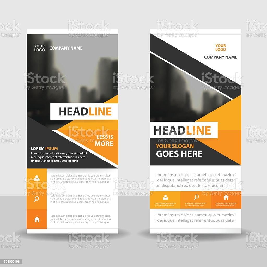 orange black triangle roll up business brochure flyer banner design