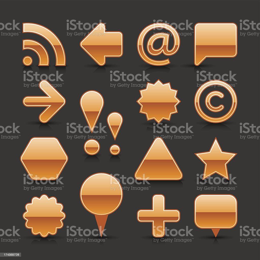 Orange Blank Web Internet Button Empty Glossy Icon Gray