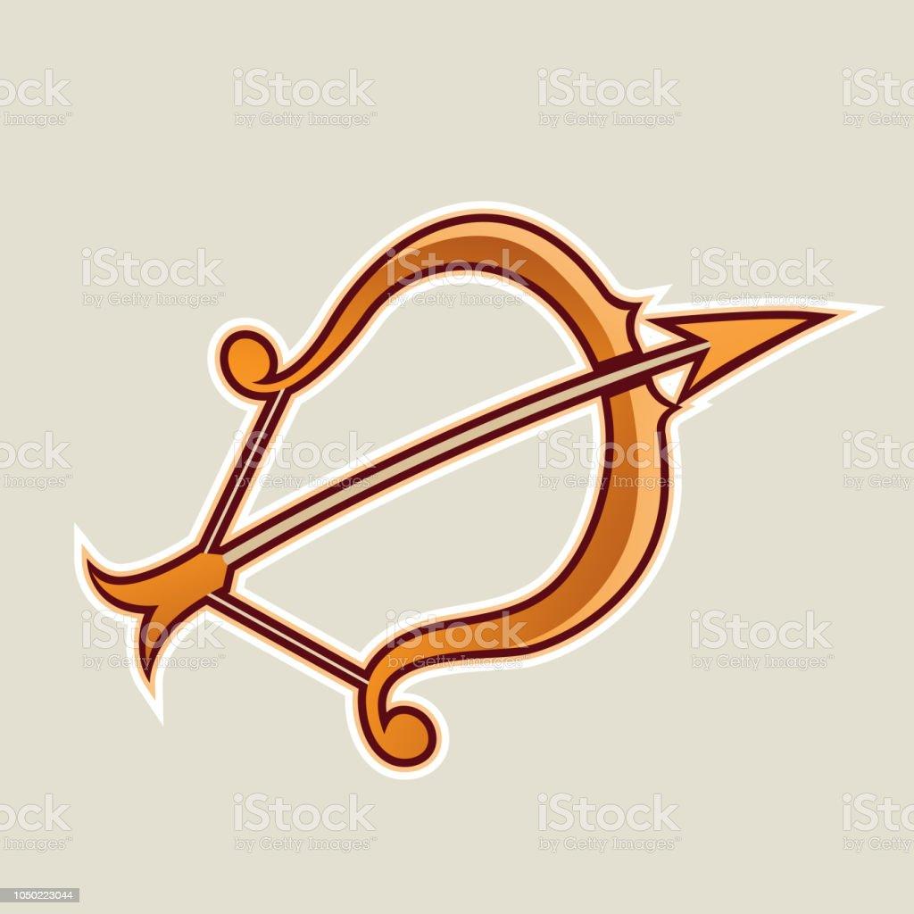 Orange Bogen Und Pfeilcartoonsymbolvektorillustration Stock Vektor
