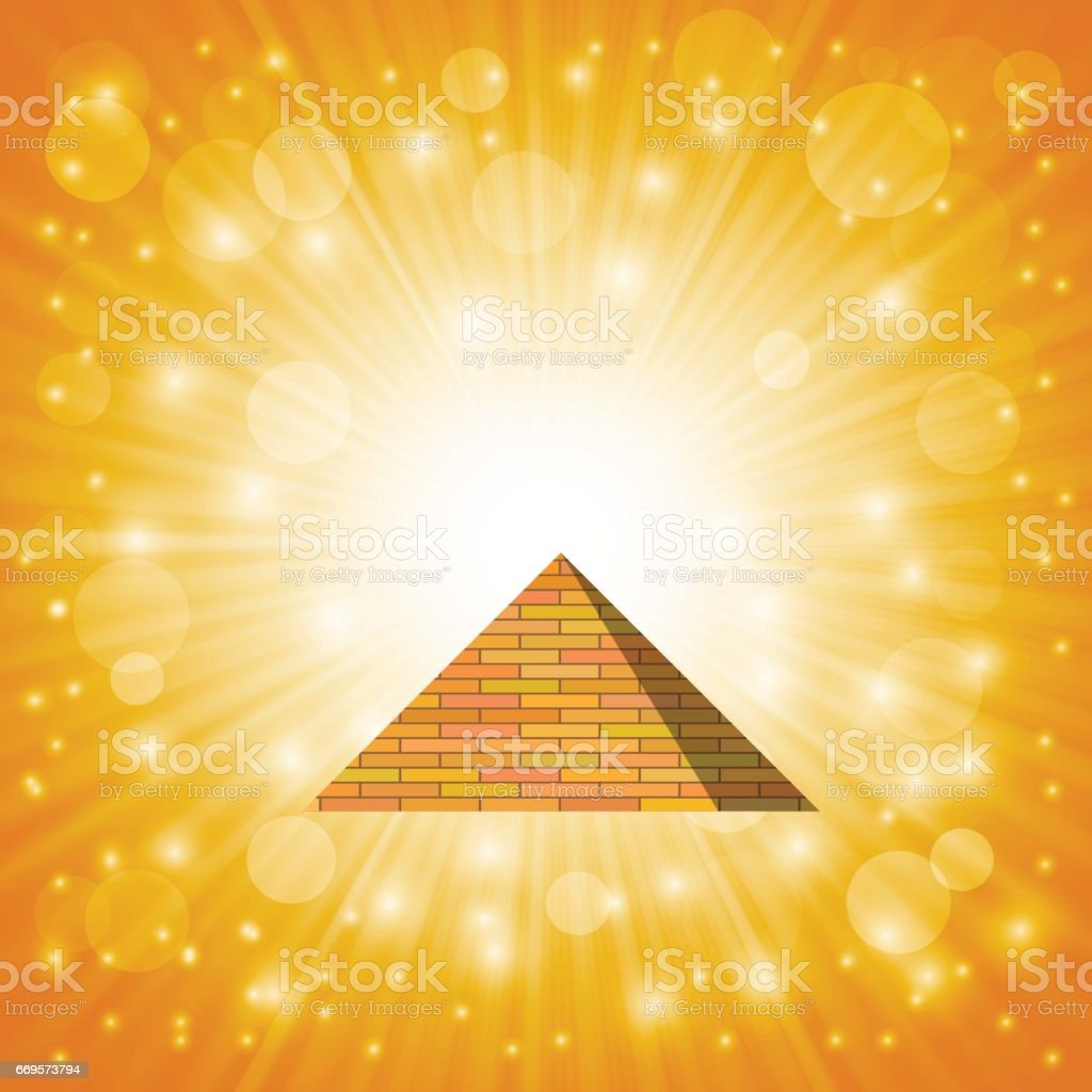 Orange Brick Pyramid vector art illustration