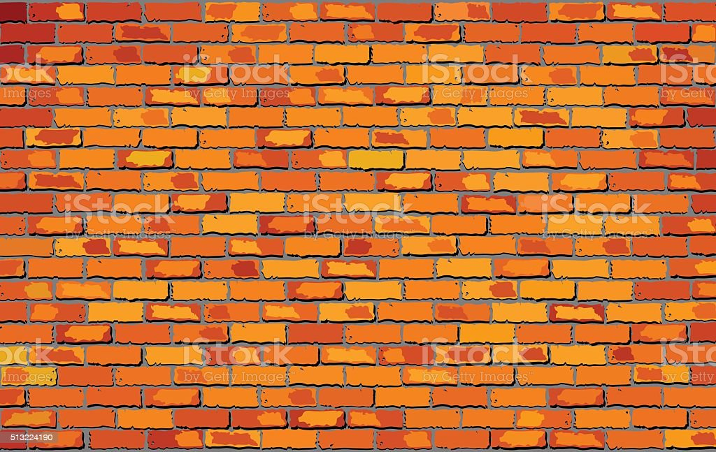 Orange brick wall vector art illustration