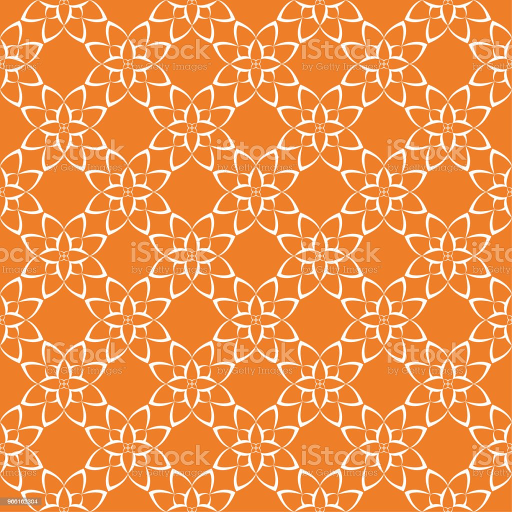 Orange bright floral seamless pattern - Royalty-free Abstrato arte vetorial