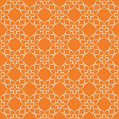 Orange Bright Floral Seamless Pattern - Arte vetorial de stock e mais imagens de Abstrato