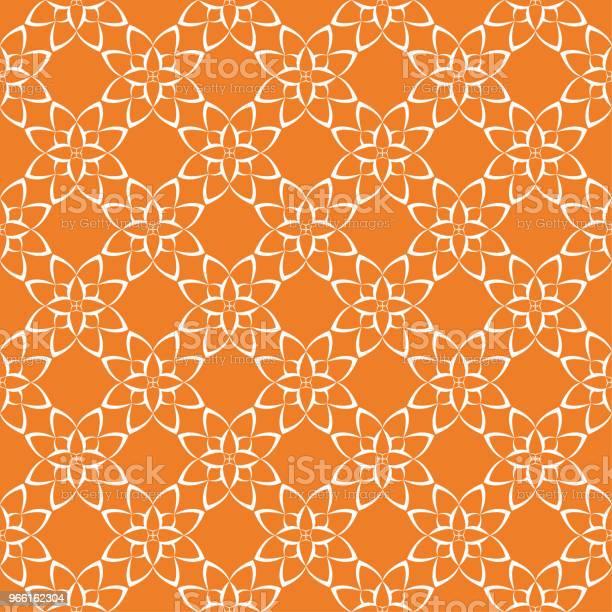 Orange Ljus Sömlös Blommönster-vektorgrafik och fler bilder på Abstrakt