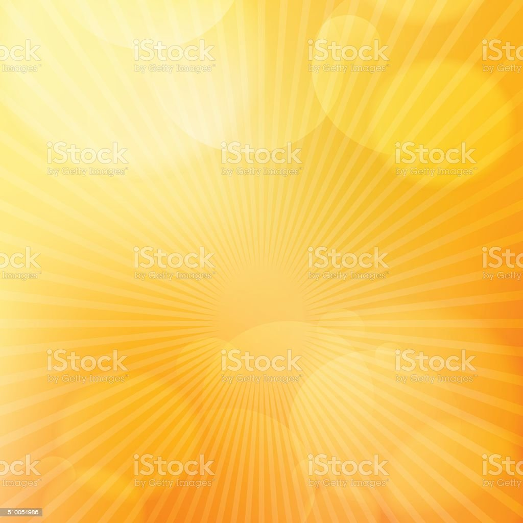 Orange bright glow background with light rays vector art illustration