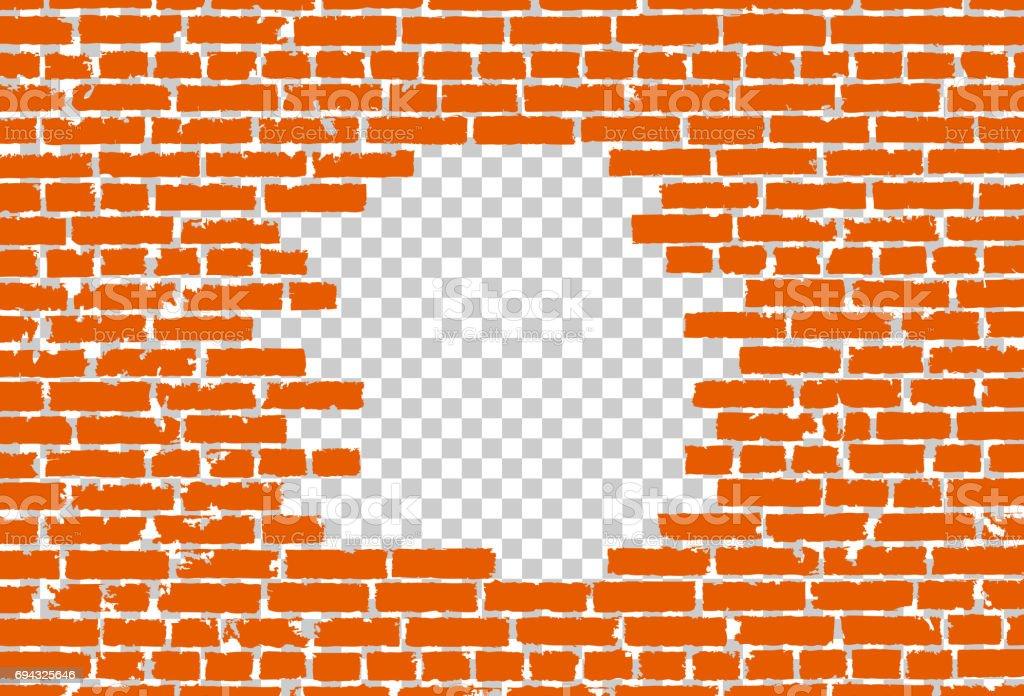 Orange broken realistic old black brick wall concept on transparent background. Vector illustration vector art illustration