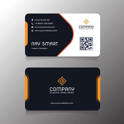 Orange Business Card Template With Qr Code