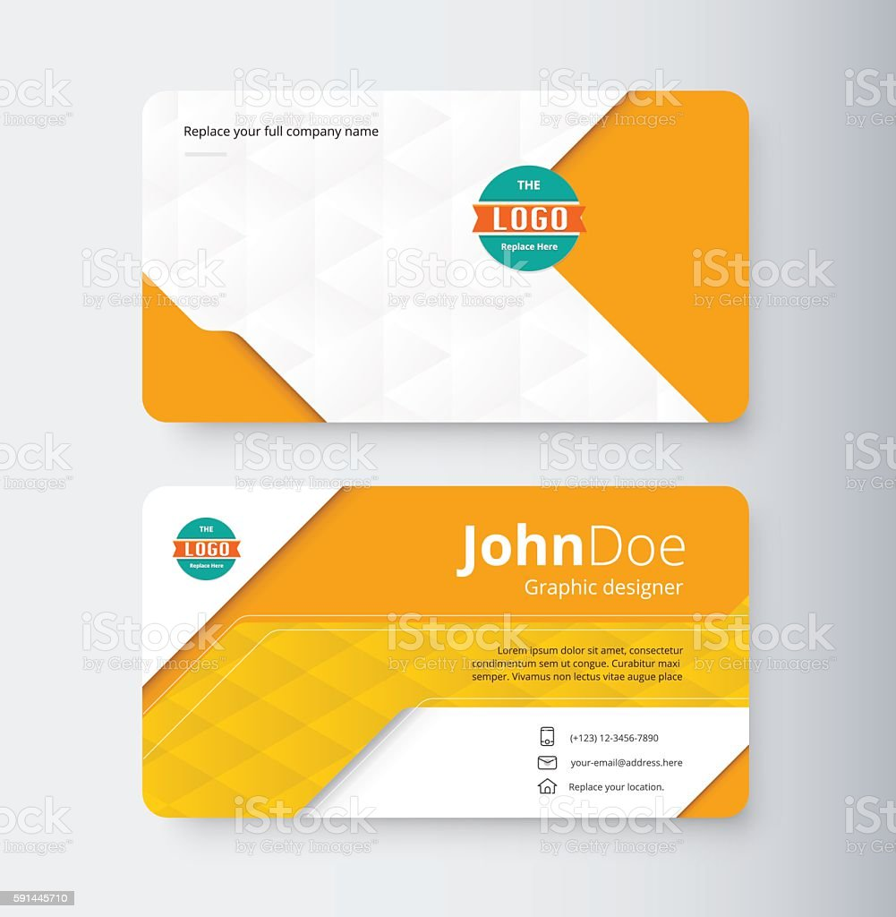 Orange Business Contact Card Template Design Royalty Free