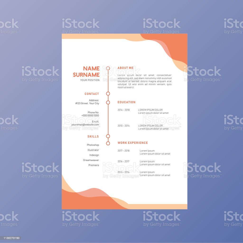 Orange Business Corporate Identity Resume Cv Vector Design Stock