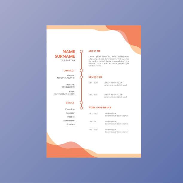 bildbanksillustrationer, clip art samt tecknat material och ikoner med orange företag företags identitet återuppta cv vektor design - curriculum vitae