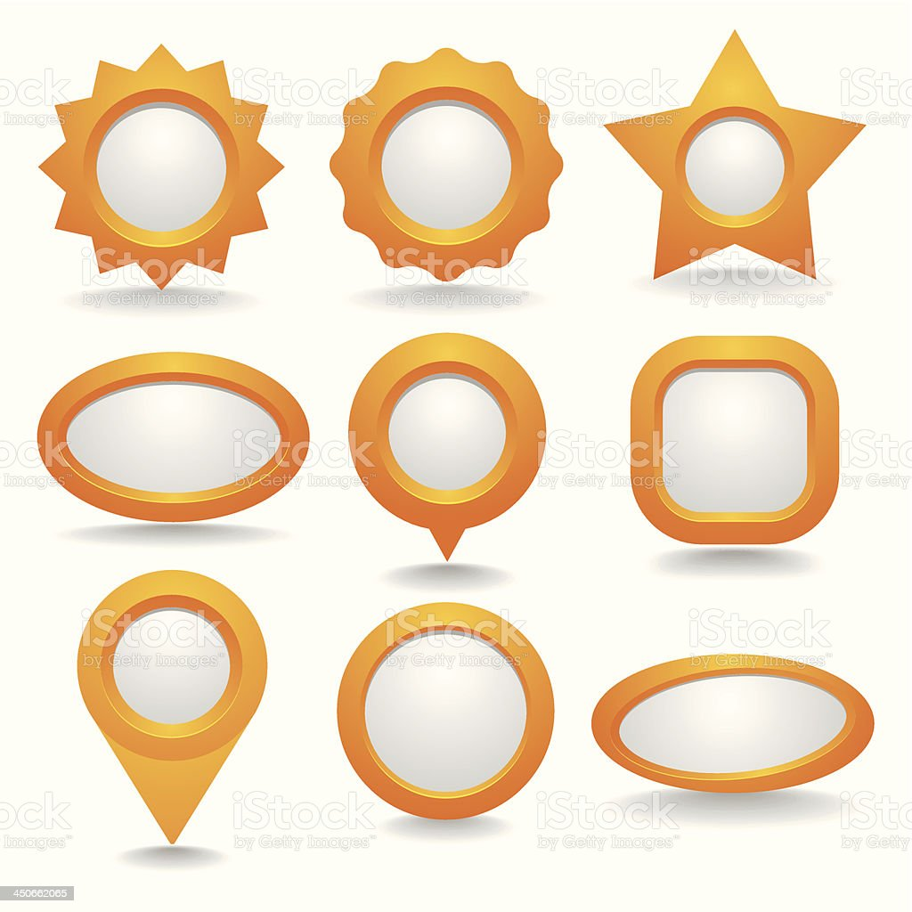 Orange button collection royalty-free stock vector art
