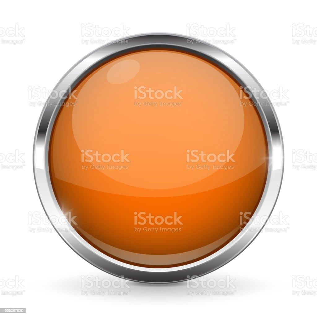 Ilustración de Botón Naranja Con Marco Cromado Icono 3d Brillante ...