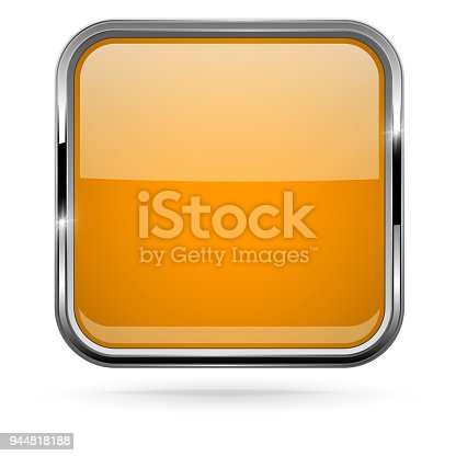 Orange button with chrome frame. Vector 3d illustration isolated on white background