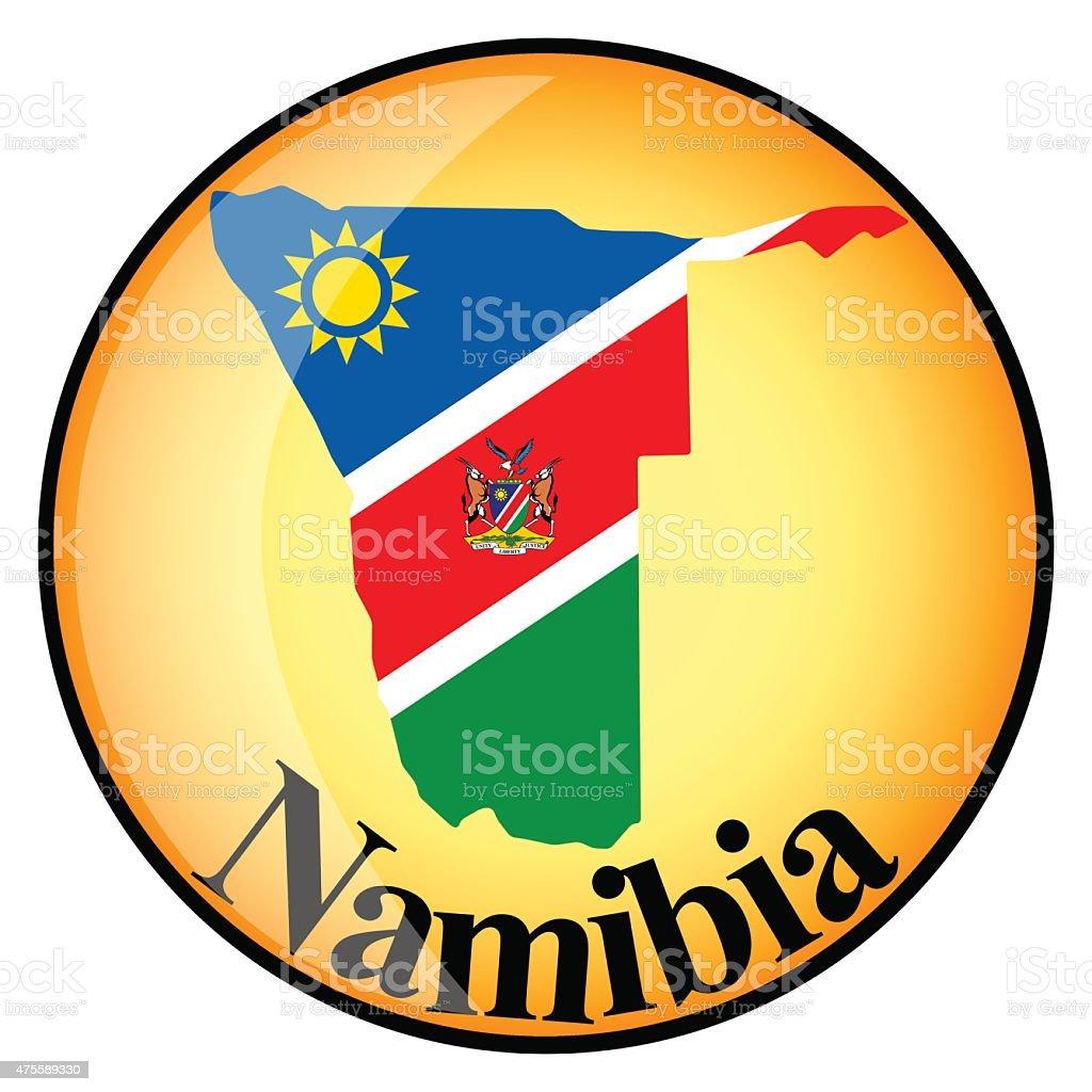 orange knopf mit dem bild karten von namibia stock vektor art und mehr bilder von 2015 475589330. Black Bedroom Furniture Sets. Home Design Ideas