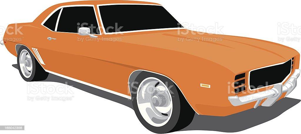 Orange Camaro 1969 royalty-free stock vector art