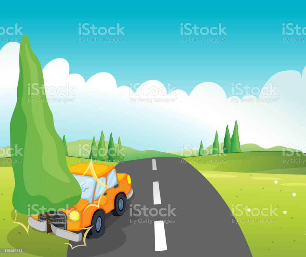 Orange car bumping the pine tree royalty-free stock vector art