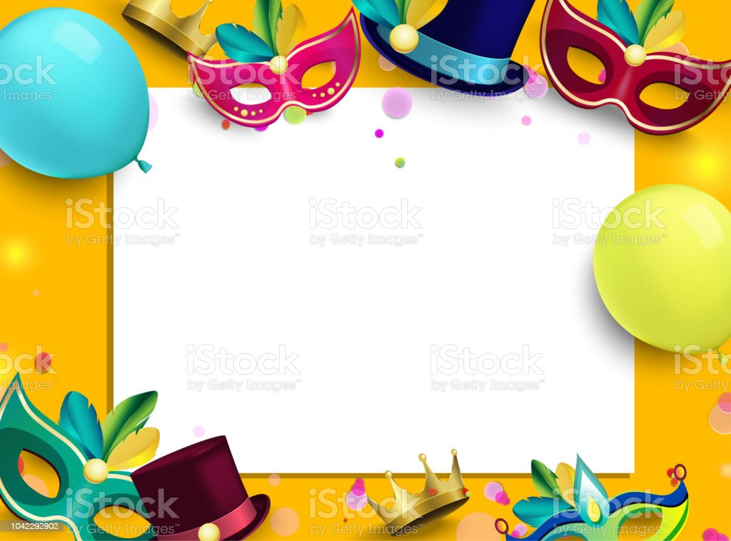 orange carnival background with color masks and balloons stock