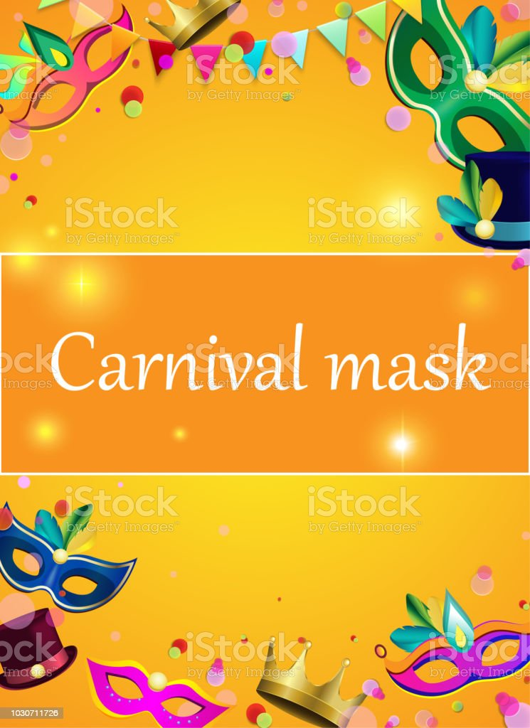 orange carnival background with color masks and confetti stock