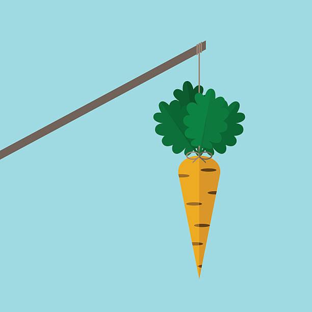 Orange carrot on stick vector art illustration