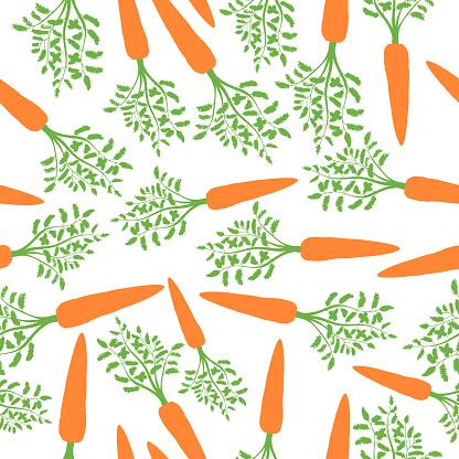 Orange Carrots Silhouette Seamless Pattern. Vector