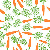 Orange Carrots Silhouette Seamless Pattern. Vector