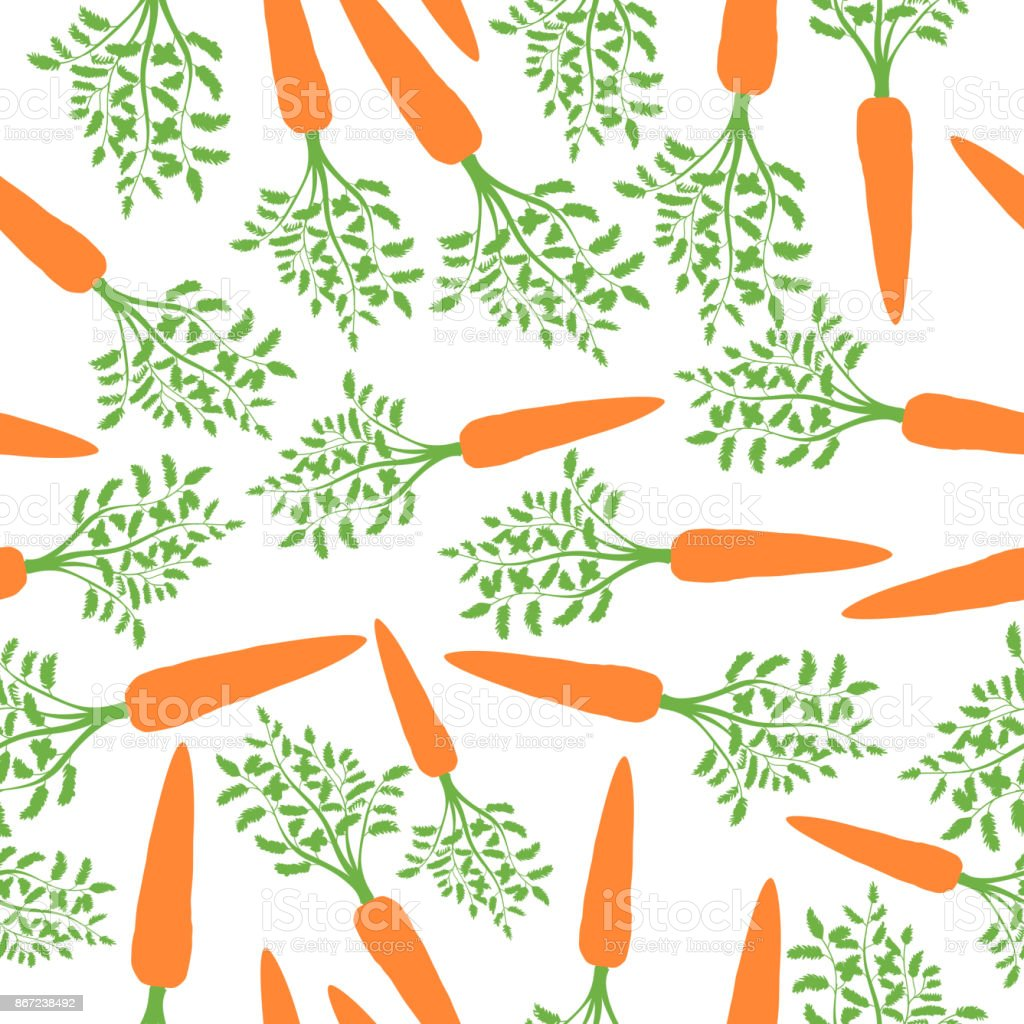 Orange Carrots Silhouette Seamless Pattern. Vector vector art illustration