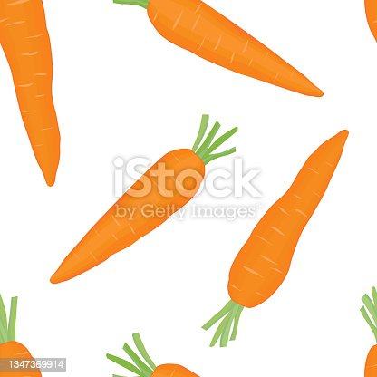istock Orange carrots with green tops. Student snack. Background for the fabric. 1347369914