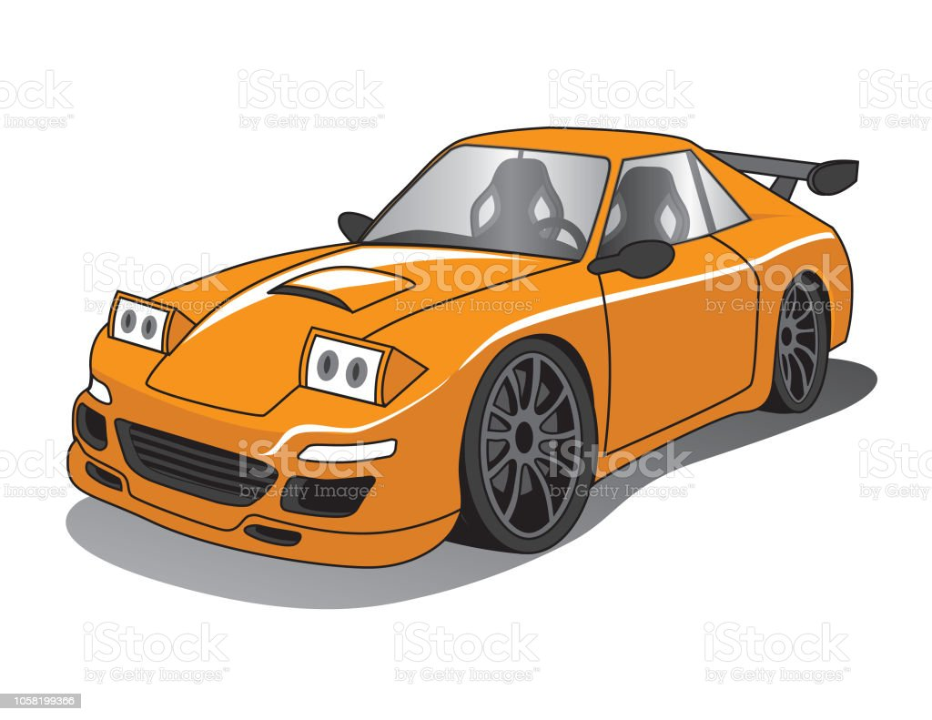 Orange Cartoon Performance Car Stock Vector Art More Images Of