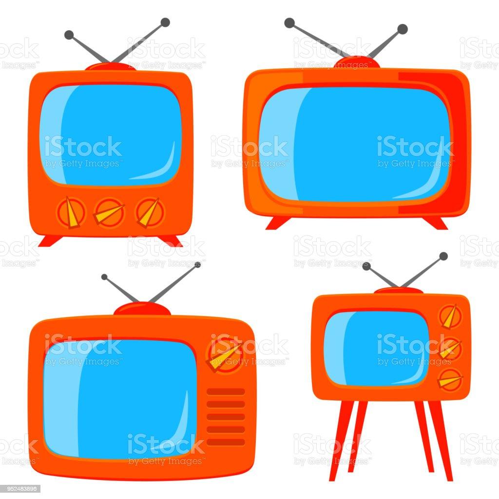 Orange De Dessin Anime Divers Televiseur Retro Cliparts Vectoriels