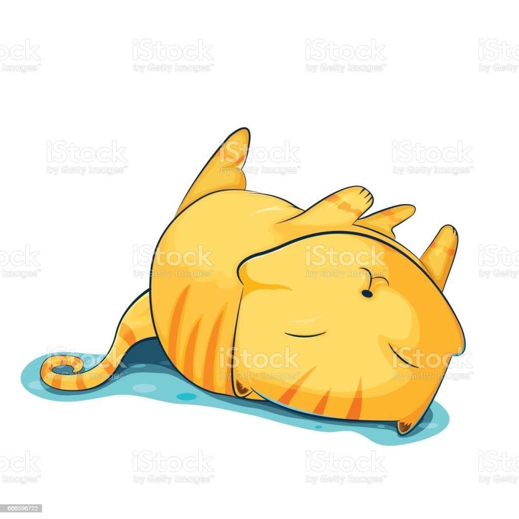 Ilustración De Gato De Color Naranja Dibujos Animados Lindo Sueño