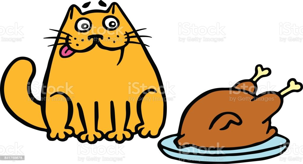 Orange cat sitting on the table and looking at the fried chicken.Vector illustration. vector art illustration