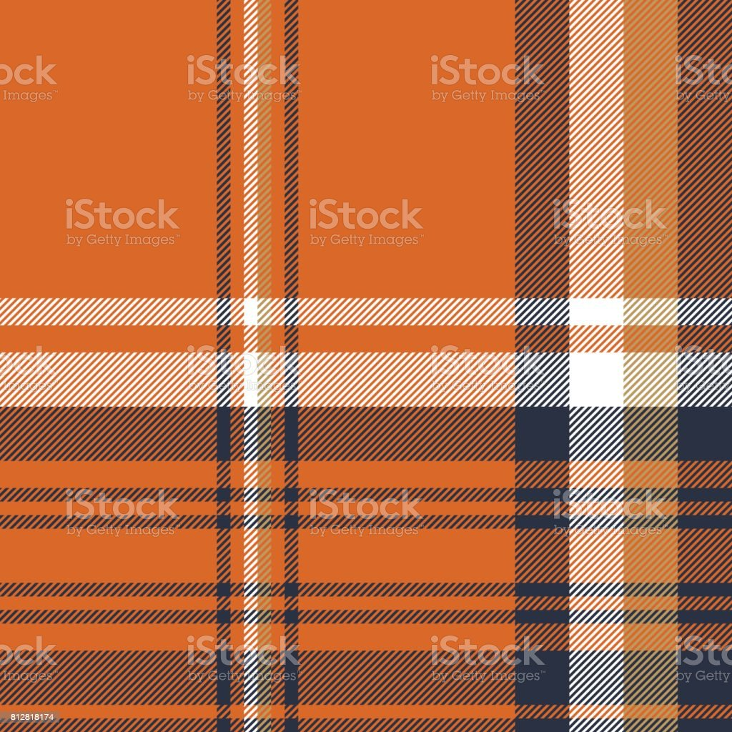 Orange check plaid seamless pattern vector art illustration