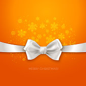 Orange Christmas background ribbon with white silk bow Vector illustration