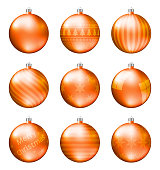 Orange christmas balls isolated on white background. Photorealistic high quality vector set of christmas baubles. Different pattern.