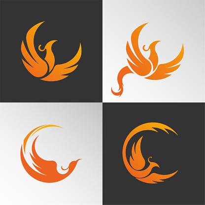 Orange circular design element, icon firebird flies